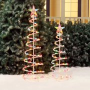holiday time 3 and 4 lighted spiral christmas tree sculptures multi color lights 2 pack - Spiral Christmas Tree Lighted