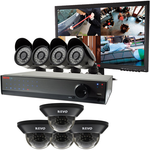 Revo Lite 16-Channel 2TB 960H DVR Surveillance System with Eight 700TVL Cameras and Monitor