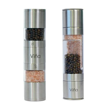 Vina 2 In 1 Stainless Steel Salt And Pepper Shaker Mill Grinder Set