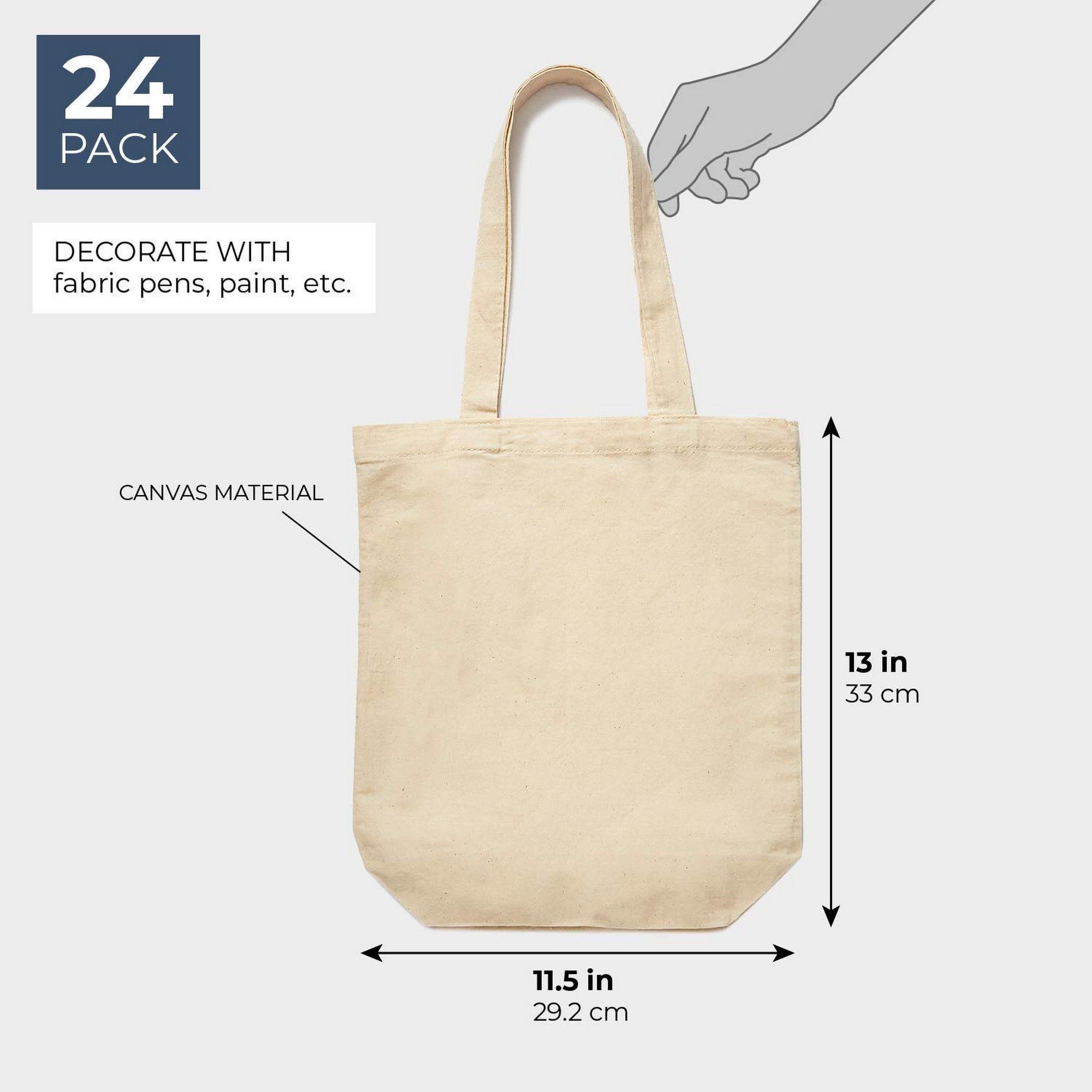 Set Of 24 Bulk Blank Cotton Canvas Tote Bags For Diy Crafts 13 X 11 5 Inches Walmart Com Walmart Com