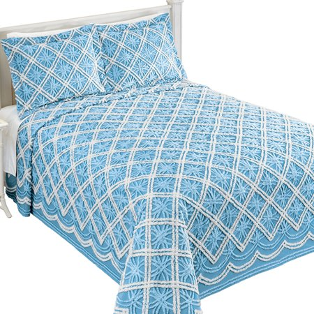 Mandy Chenille White and Blue Double Tufted Diamond and Wedding Ring Pattern Bedspread, Twin, (Diamond Chenille)