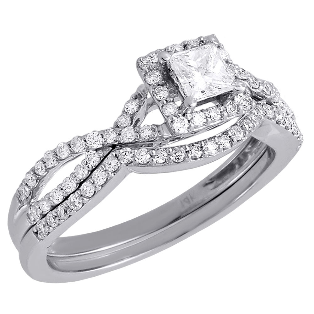 Ladies 14K White Gold Diamond Infinity Engagement Ring Bridal Set 0.66 Ct. by Jewelry For Less
