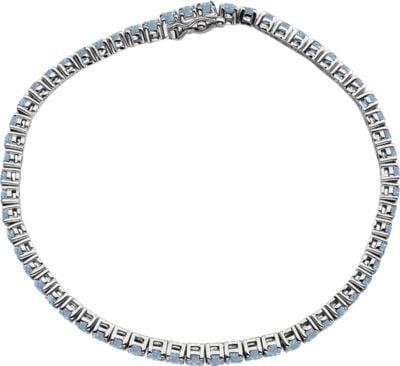 "14kt White Aquamarine 7.25"" Bracelet in 14k White Gold by Bonyak Jewelry"