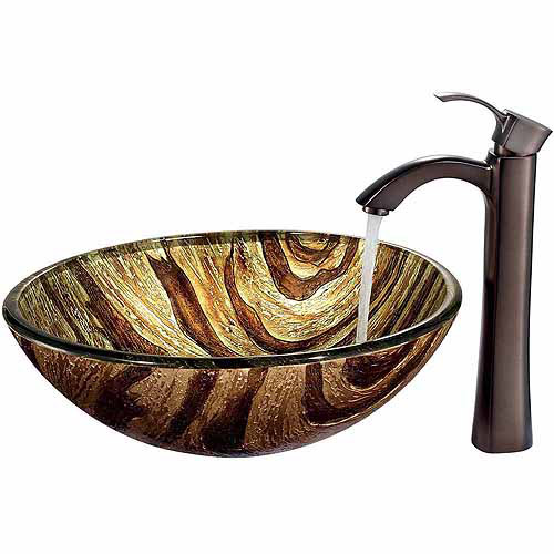 Vigo Zebra Glass Vessel Sink and Faucet Set, Oil Rubbed Bronze