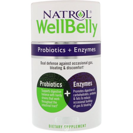 Natrol Probiotic - Well Belly Probiotic Enzyme 30 Capsule, Pack of 2 (4x Probiotic)