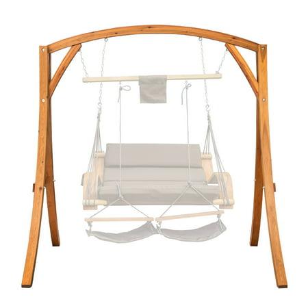 Lazy Daze Hammocks Deluxe Wooden Arc Frame Hammock Swing Chair Stand Heavy Duty Russian Pine Hardwood, Capacity 450 lbs ()