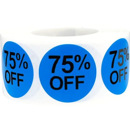 75% Percent Off Stickers Blue 1 Inch Round Circle Dots 500 Adhesive - 75 Percent Off Halloween