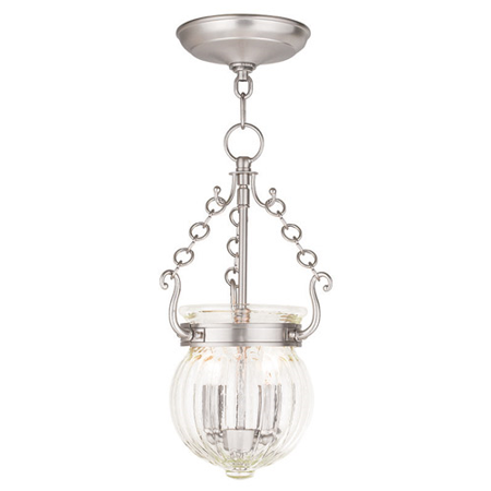 Pendants Porch 2 Light With Hand Crafted Clear Melon Glass Brushed Nickel size 9 in 120 Watts - World of (Aged Nickel Crystal Crystal)