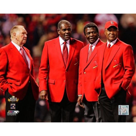 St Louis Cardinals Legends Red Schoendienst Bob Gibson Lou Brock & Ozzie Smith before Game 6 of the 2011 MLB World Series