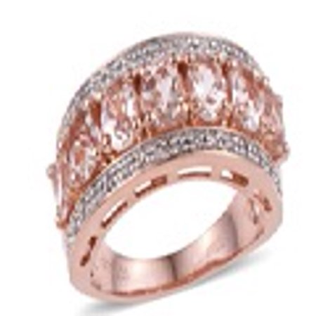 Pink Zircon Ring - Morganite Cubic Zircon CZ Rose Gold Over Silver Cocktail Ring Jewelry
