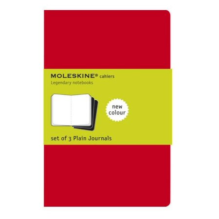 Moleskine Cahier Journal (Set of 3), Large, Plain, Cranberry Red, Soft Cover (5 x (Large Plain Journals)