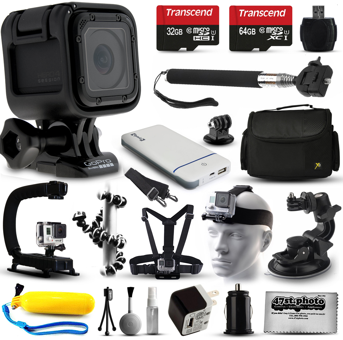GoPro HERO4 Session HD Action Camera (CHDHS-101) + Ultimate 20 Piece Accessories Package with 96GB Memory + Travel Case + USB Portable Charger + Head\/Chest Strap + Opteka X-Grip + Car Mount & More!