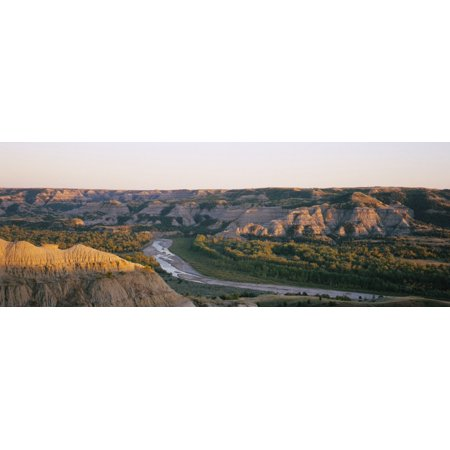Theodore Roosevelt North Dakota (High angle view of a river passing through a landscape Little Missouri River Badlands Theodore Roosevelt National Park North Dakota USA Canvas Art - Panoramic Images (36 x)