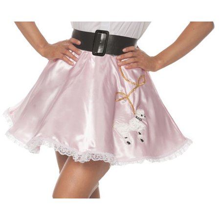 Pink Satin Mini Poodle Womens Adult Costume 50S Dancer Skirt