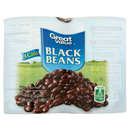 Great Value Black Beans  15 25 Oz  4 Cans