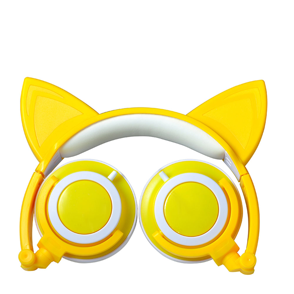TechComm K8 Pointy Cat Ear LED Headphones with Glowing Ears & Earpads