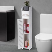 Bathroom Floor Standing Shelf Storage Cabinet Washbasin Shower Corner Shelf Sundries Home Furniture Storage Rack, 4 Layers Thin Toilet Vanity Cabinet for Paper Towels Holder, Solid Wood