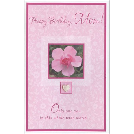 Freedom Greetings Pink Flower With Heart Embellishment Mother