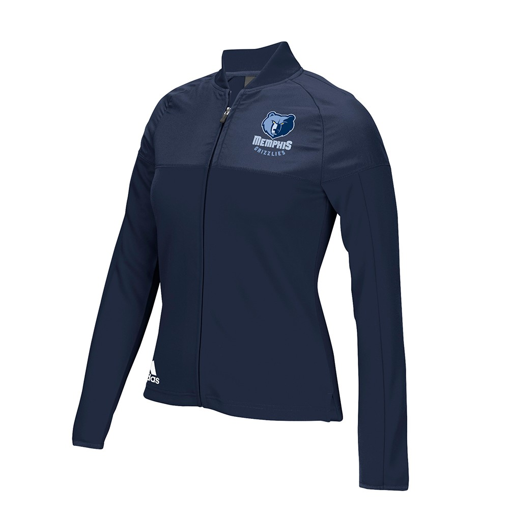 Memphis Grizzlies NBA Adidas Navy Blue 2016 On-Court Long Sleeve Track Jacket For Women by Adidas