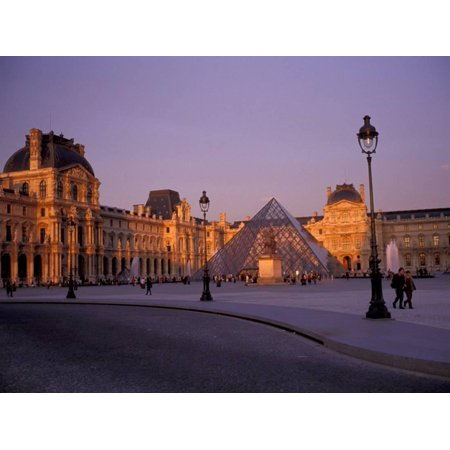 Le Louvre Museum and Glass Pyramids, Paris, France Print Wall Art By David