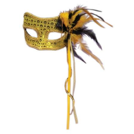 Mens Mascarade Mask (Forum Halloween Cosplay Men's Masquerade Feather Mask, Gold,)