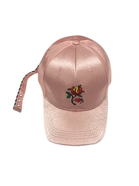 d830aae386a9d2 Product Image Women Girls Solid Color Satin Flower Embroidery Baseball Hat  Adjustable Peaked Cap Sun Hat
