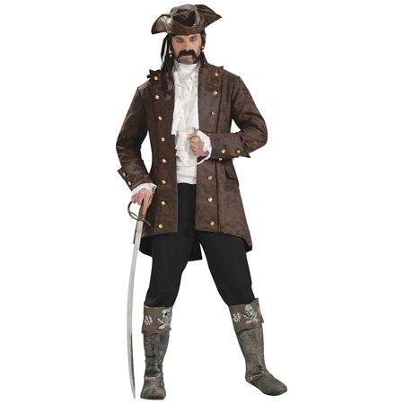 Men's Buccaneer Jacket Pirate Costume, Brown, Standard, Faux leather pirate jacket By Forum Novelties