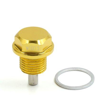M16 Bolt Carrier - M16 x 1.5 Gold Tone Magnetic Engine Oil Pan Drain Bolt Screw w Billet for Car
