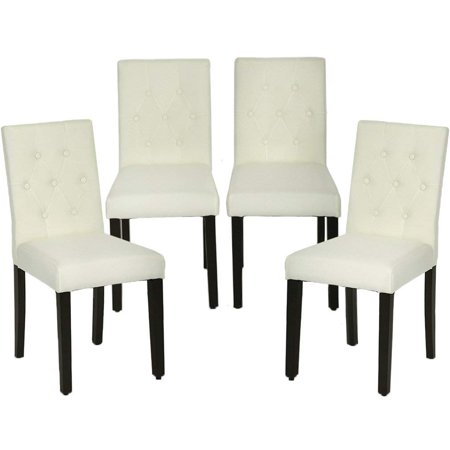 Dining Chairs Armless Kitchen Room Chair Accent Solid Wood Modern Style For Living Home Furniture (set of 4) ()