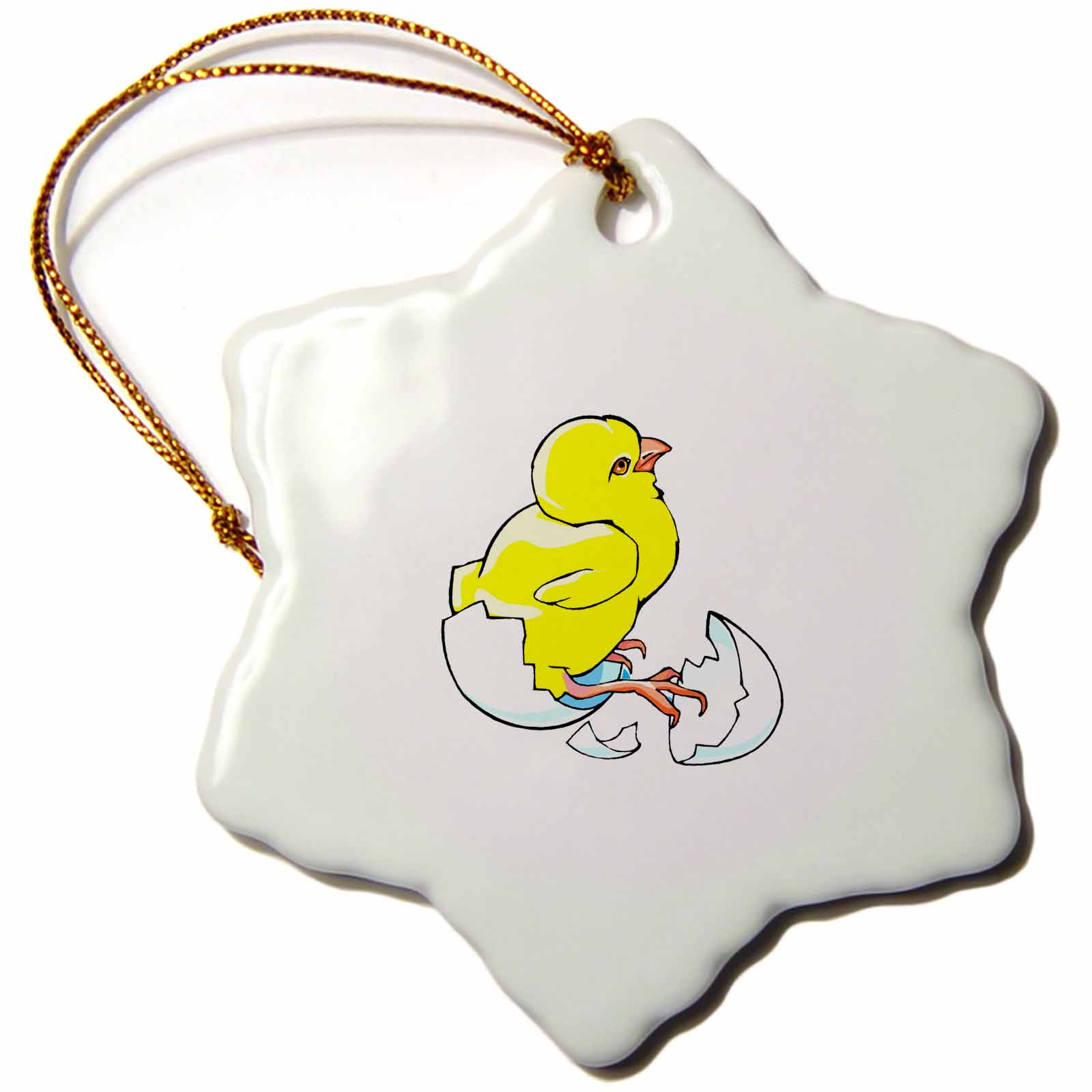3dRose yellow chicken hatching baby chick , Snowflake Ornament, Porcelain, 3-inch