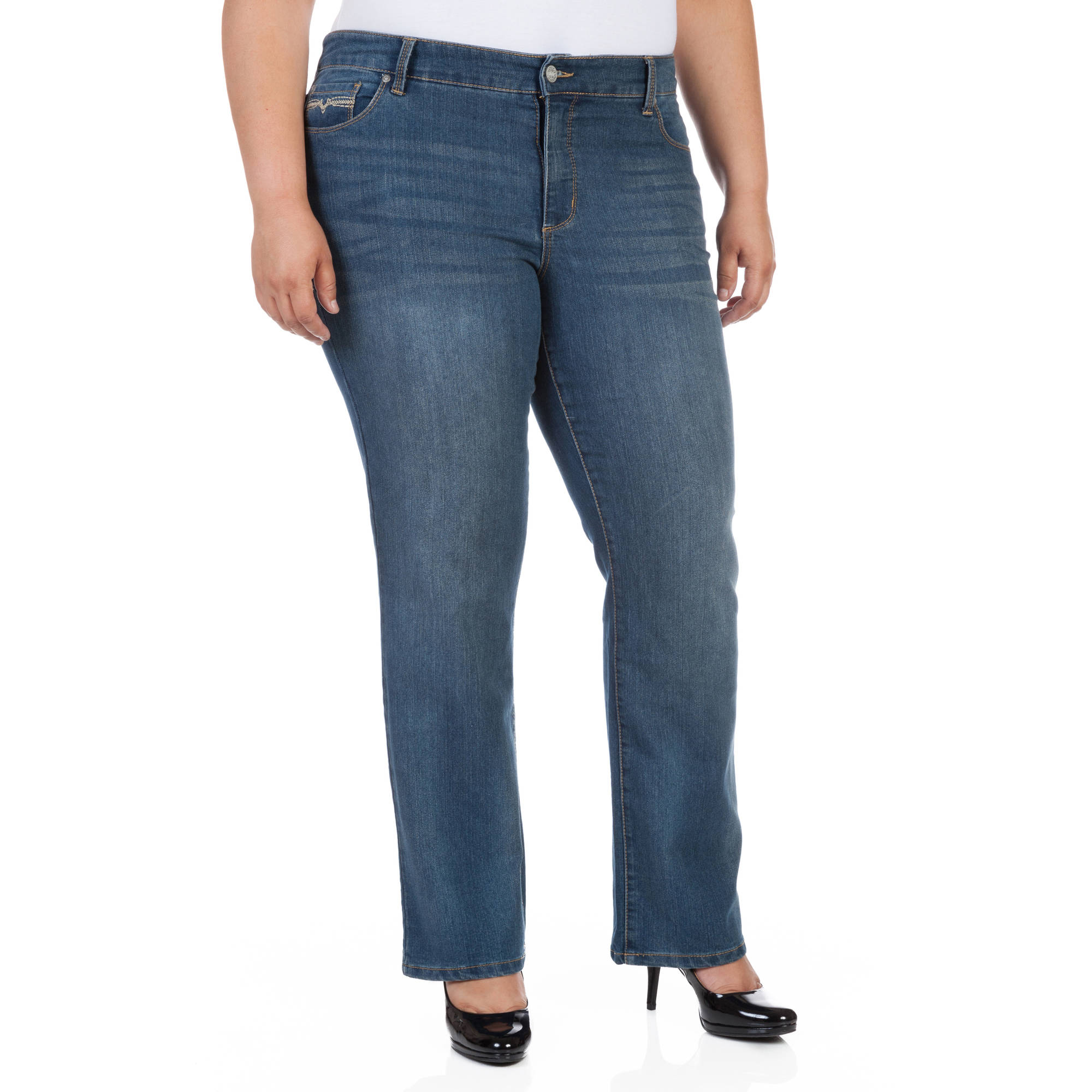 Faded Glory Women's Plus-Size Slim Boot cut Jeans - Walmart.com