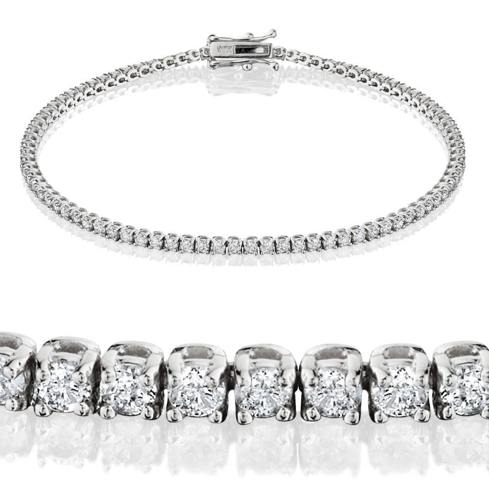 "G SI 2ct Lab Grown Diamond Tennis Bracelet 14K White Gold 7"" - image 2 of 2"