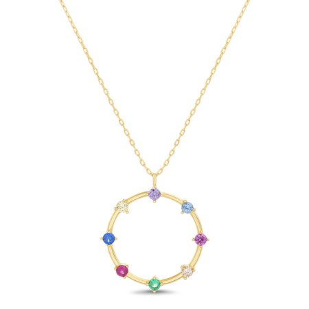 Womens Rainbow Cubic Zirconia Border Open Circle Necklace