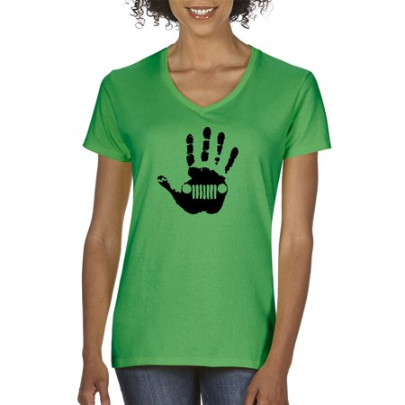 - New Way 772 - Women's V-Neck T-Shirt Jeep Handprint Wave Grille Wrangler Cherokee Large Kelly Green