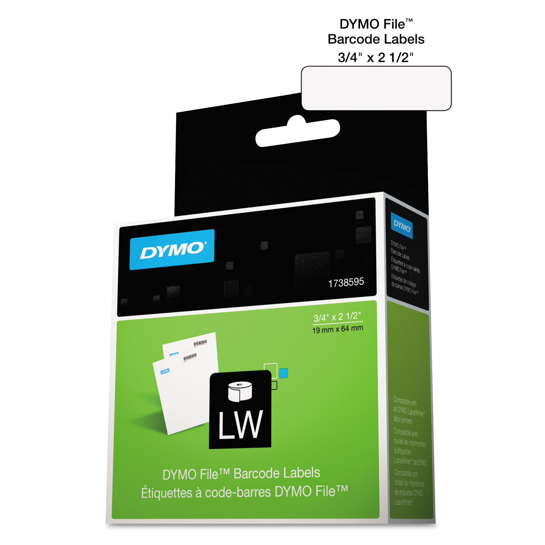DYMO LabelWriter Bar Code Labels, 3/4 x 2 1/2, White, 450 Labels/Roll