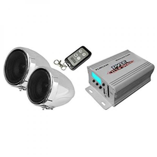 "Motorcycle Speaker and Amplifier System - 100 Watt Weatherproof w/Two 3"" Waterproof Speakers, AUX IN - Handlebar Mount ATV Mini Stereo Audio Receiver Kit Set - Also for Marine, Boat - Pyle PLMCA40"