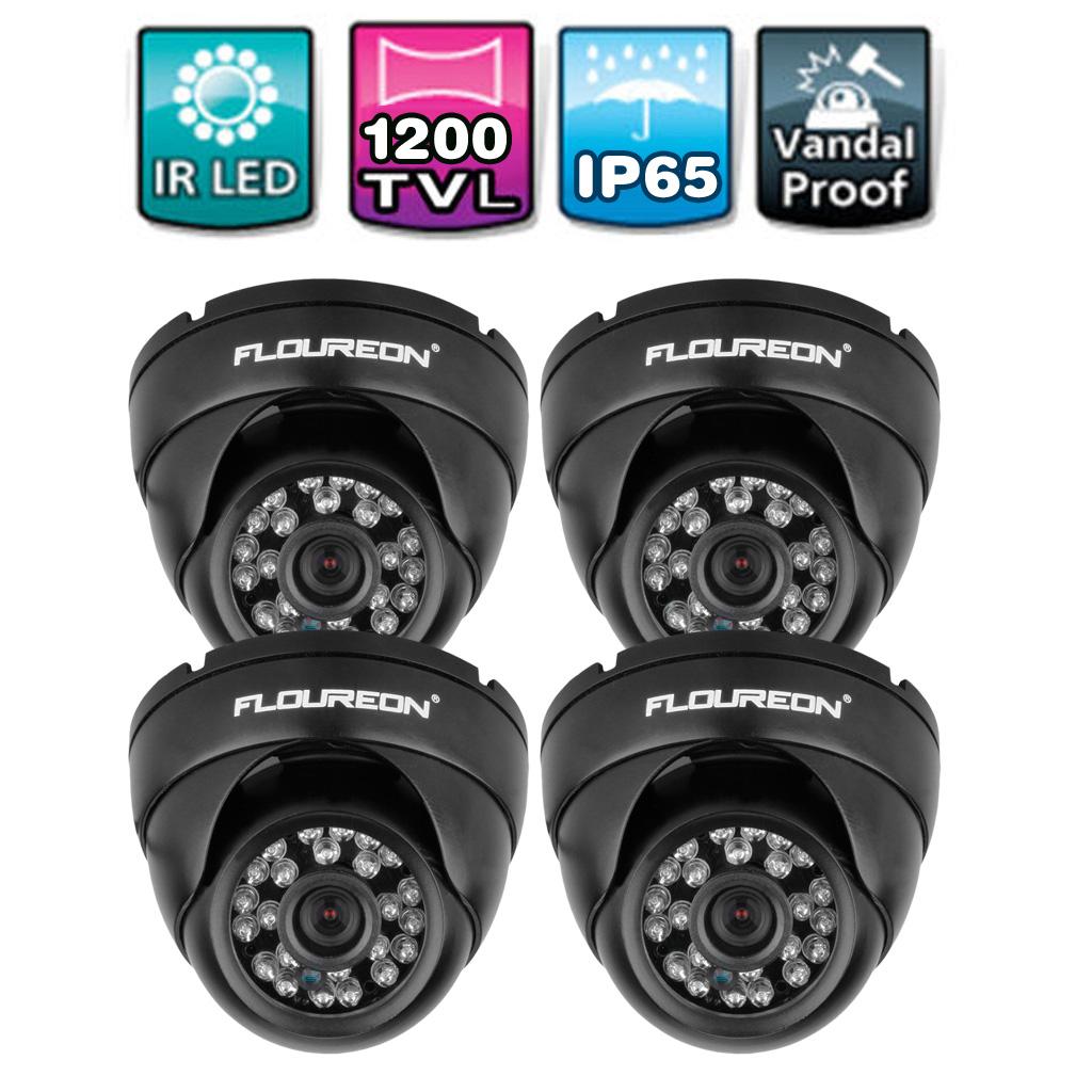 FLOUREON Waterproof 1200TVL NTSC Vandalproof CCTV DVR Security Surveillance Dome IR Camera Night Vision, 4Packs
