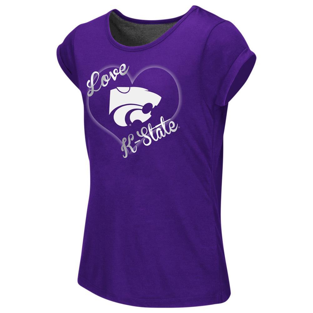 Kansas State University Girls Tee Heathered Split Back T-Shirt