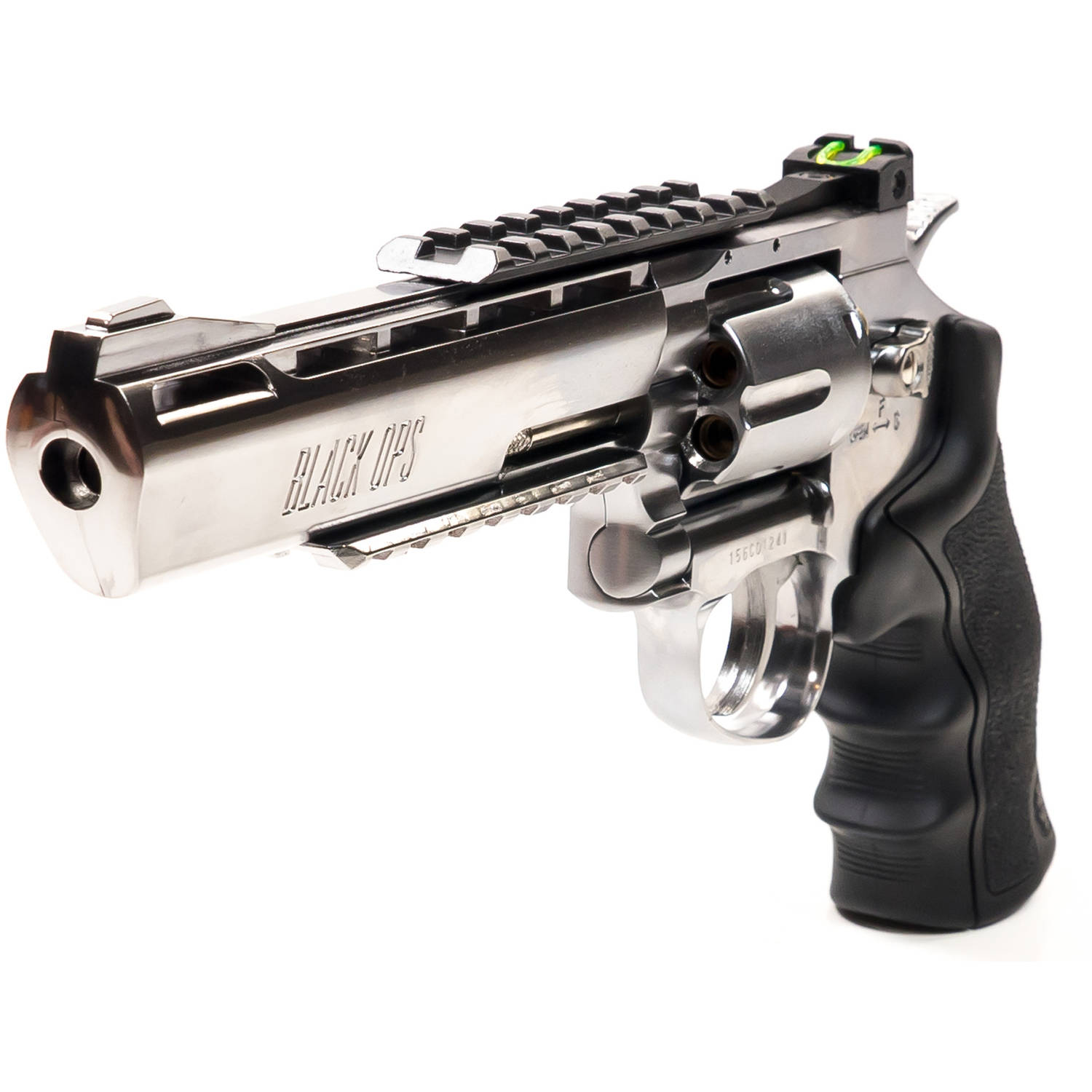 "BB Gun Black Ops Exterminator 6"" Chrome CO2 Revolver"