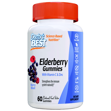 Doctor's Best Elderberry Plus, 60 Chewable Berry Flavored Immune Support, Non-GMO, Natural Fruit Pectin,