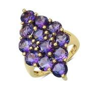 Malaika 14k Yellow Goldplated Sterling Silver 6 4/5ct Amethyst Ring Size-7, Purple