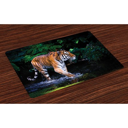 Safari Placemats Set of 4 Tiger in Water Stream Hunting Danger Trees Tropical Pond Hiding Captive, Washable Fabric Place Mats for Dining Room Kitchen Table Decor,Green Orange Brown, by (Best Place To Stream Anime)