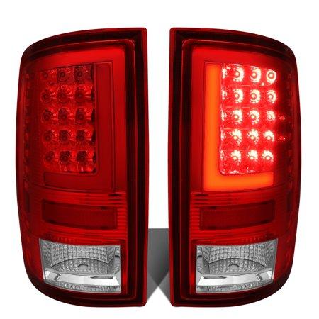 For 2009 to 2017 Dodge Ram 1500 / 2500 / 3500 Pair of 3D LED Bar Tail Brake Lights (Chrome Housing Red Lens) 16 15 14 13 12 11 10
