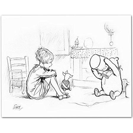 (Lone Star Art Pooh Eating Honey - Winnie the Pooh 11x14 Unframed Nursery Art Print)