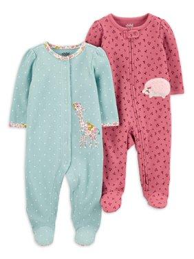 Child of Mine by Carter's Baby Girls Cotton Thermal Sleep 'N Play Pajamas, 2-Pack (Preemie-9M)