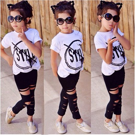 2Pcs Toddler Kids Girls Clothes Style Summer T-shirt Tops Pants Leggings Outfits Set 2-7Years - Children Clothing Boutique Online