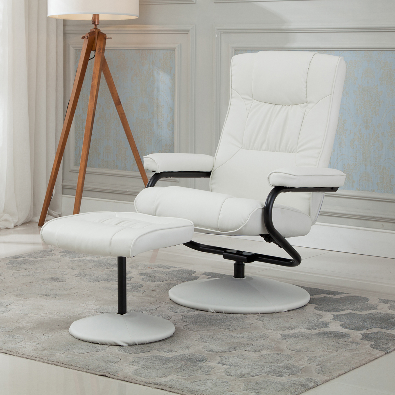 Belleze Premium Faux Leather Recliner & Ottoman Set, Reclining Chair Home Living Room, White by Belleze