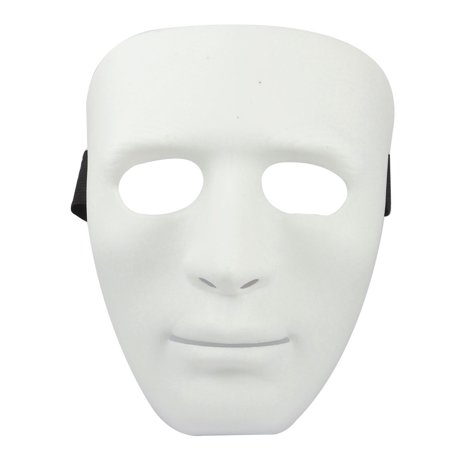 Man Adjustable Black Elastic Band Full Face Plastic Halloween
