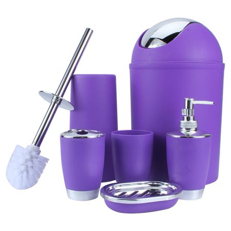 Bathroom Cup Dispensers - Greensen 6Pcs Luxury Bathroom Accessory Set Bath Set Lotion Dispenser Toothbrush Holder Tumbler Cup Soap Dish Trash Can Toilet Brush Set Household