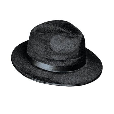 Club Pack of 12 Jet Black Fedora Gangster Hat Halloween Costume Accessories 13.2